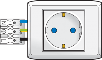 Socket outlet with one terminal block with plug-in connection and raised frame, 45 x 45 mm