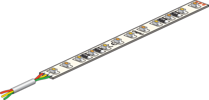 LED strip on roll with 120 tunable white LEDs/m (60 warm white + 60 cold white LEDs)
